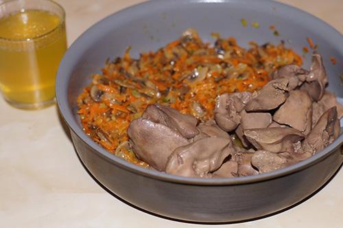 Печень, лук, морковь, грибы