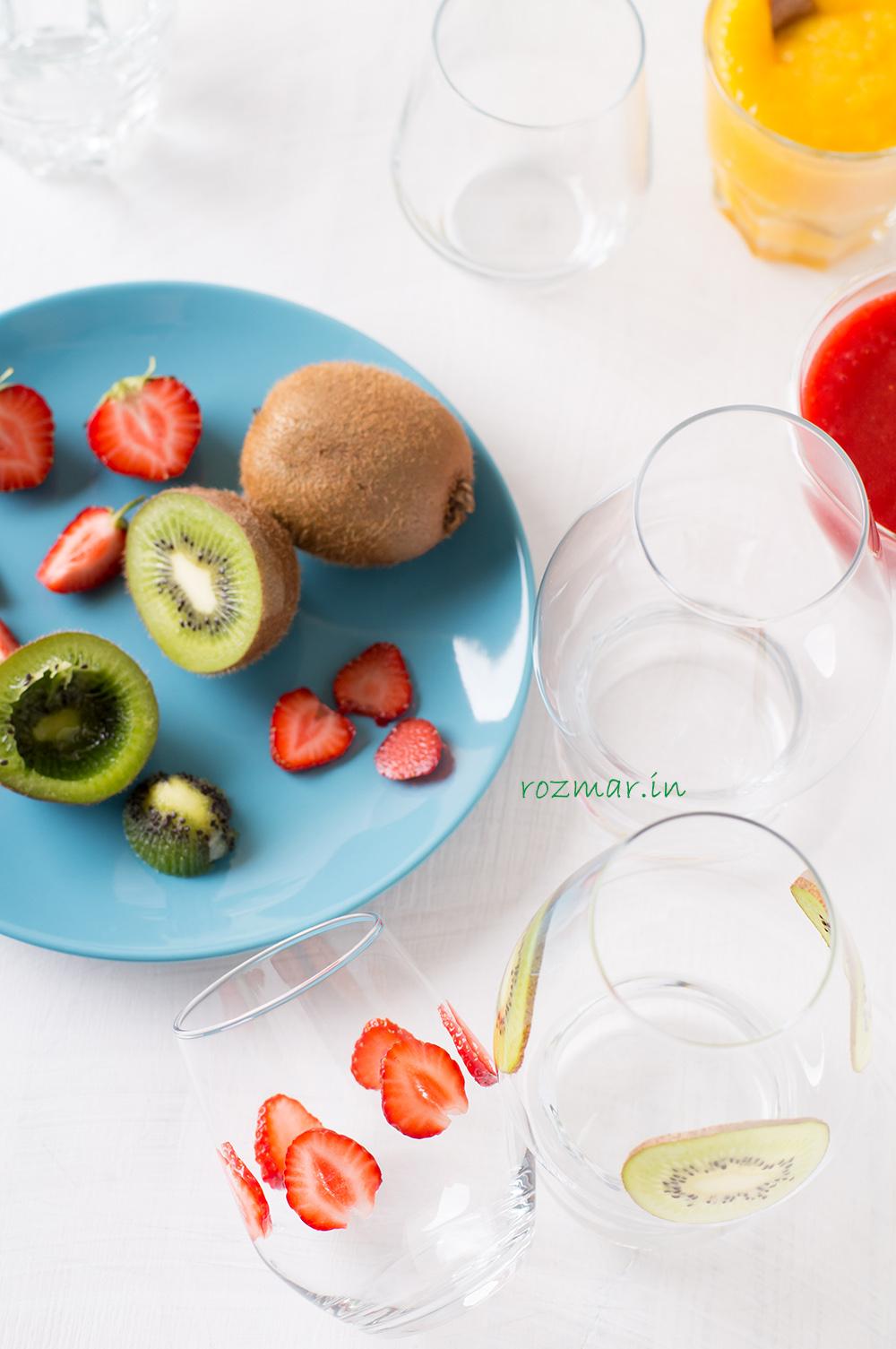 Стаканы для десертов, фрукты